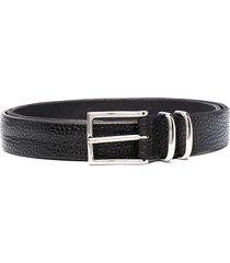 orciani textured leather belt - black