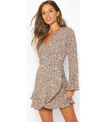 petite luipaardprint skater wikkel jurk, geelbruin