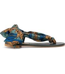 avec modération scarf-tie sandals - blue
