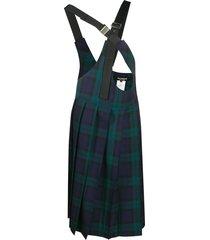 junya watanabe cross-suspender pleated plaid skirt - black