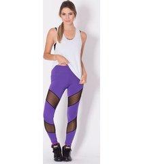 calça legging go fit rio fitness recorte/tule