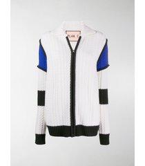 plan c colour-block cable-knit cardigan