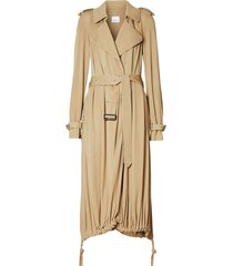 burberry cape detail trench coat - brown