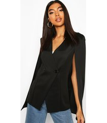 tall button detail cape blazer, black