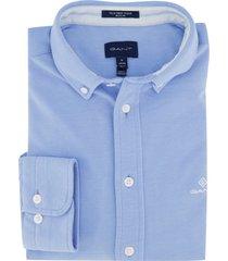 gant overhemd button down blauw regular fit