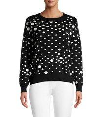 for the republic women's polka dot sweater - black white - size l