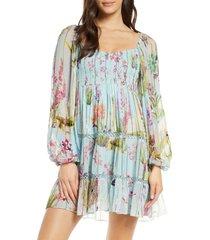 women's hemant & nandita floral & metallic rainbow stripe long sleeve cover-up dress