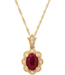 """certified ruby (1 ct. t.w) & diamond accent 18"""" pendant necklace in 14k gold"""