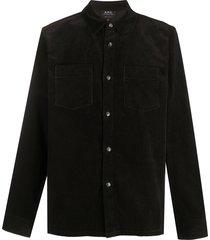 a.p.c. patch-pocket corduroy shirt - black