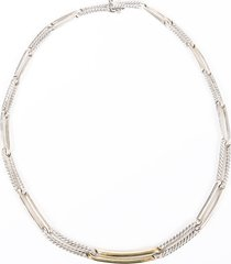 david yurman cable link sterling silver 18k gold necklace silver/gold sz: