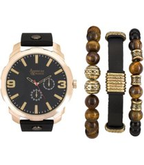 men's black/gold analog quartz watch and holiday stackable gift set