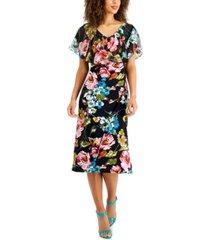 connected petite popover floral-print midi dress