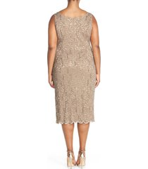 plus size women's alex evenings lace cocktail dress with jacket, size 22w - brown