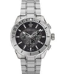 logo stainless steel bracelet chronograph watch
