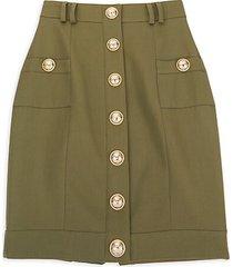button-front wool skirt