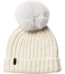 women's mackage cashmere & wool beanie with genuine fox fur pom - white
