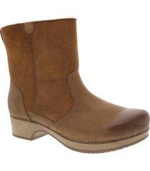 women's dansko bettie genuine shearling lined boot, size 11.5-12us - brown