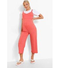 zwangerschap geribbelde culotte jumpsuit, coral