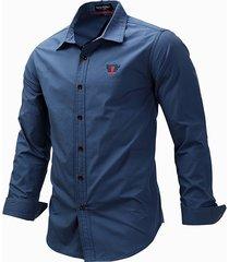 abito a maniche lunghe casual in cotone tinta unita camicia per uomo