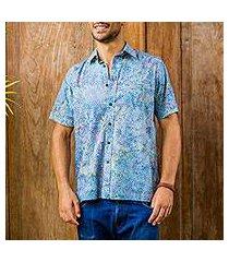 men's batik cotton shirt, 'pebble road' (indonesia)