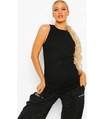 zwangerschap geribbeld hemd met racer hals, black