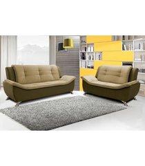 conjunto sofá 2 e 3 lugares escócia 2,07 mts e 1,60 mts com pés em metal cromado, tecido suede amassado café e castor