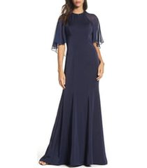 women's la femme illusion cape trumpet gown, size 10 - blue