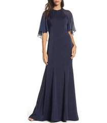 women's la femme illusion cape trumpet gown