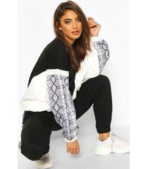 colour block snake print sweatshirt, black