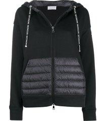 moncler zip up padded detail hoodie - black
