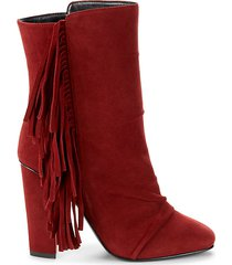 fringe suede heeled booties