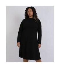 vestido feminino mindset plus size midi manga longa gola alta preto
