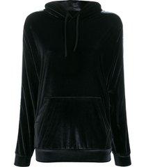 fiorucci velour logo tape hoodie - black