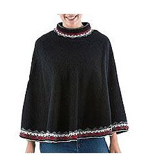 alpaca blend poncho, 'wari splendor in black' (peru)