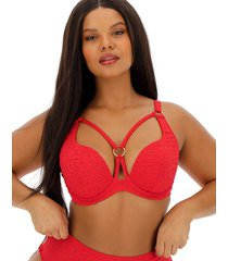 rio animal embossed plunge bikini top