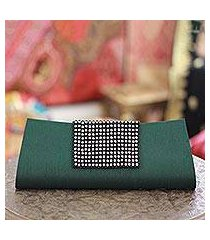 beaded clutch evening bag, 'emerald allure' (india)