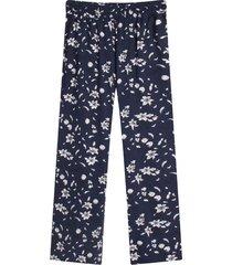 pantalón para mujer fluido floral color azul, talla 10