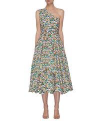 sabine' all-over floral print one shoulder balloon hem dress