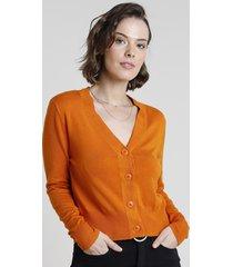 cardigan feminino básico em tricô com botões laranja