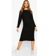 rib knitted midaxi belted dress, black