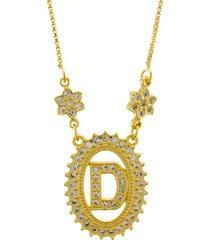 colar horus import letra d zircônias dourado