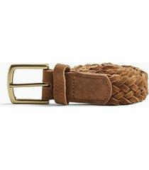 mens beige stone suede plaited belt