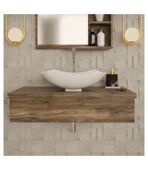 conjunto para banheiro bancada com cuba l42 abaulada city 800 carvalho dark