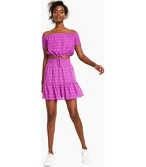 bar iii smocked-waist mini skirt, created for macy's