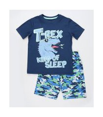pijama infantil dinossauro manga curta azul marinho