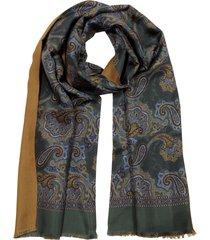 forzieri designer men's scarves, modal & silk paisley print men's fringed scarf