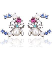 inalis bowknot orecchini a forma di luna con perle strass per donna