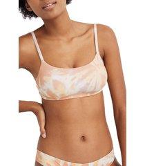 women's madewell second wave rainbow stripe sport bikini top, size medium - coral