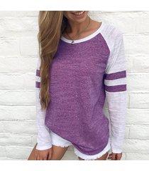 zanzea moda primavera 2018 las mujeres de cuello redondo de manga larga tapas flojas casual empalme con paneles de rayas holgada blusa de ocio con capucha púrpura -púrpura
