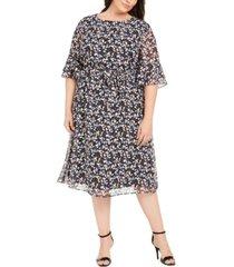 anne klein plus size mayfair floral-print a-line dress